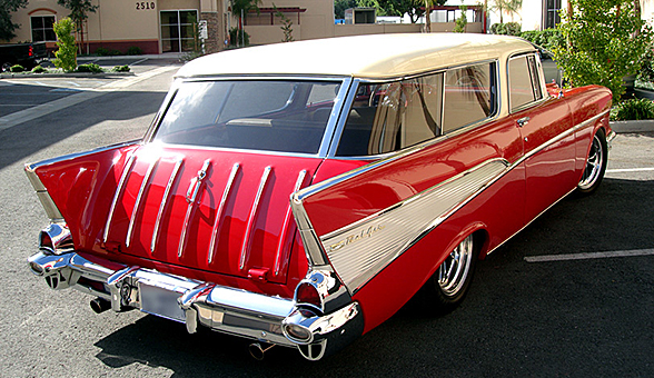 Rear view of the the 1957 Chevy Nomad